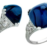 Art Deco 11.92 Carat Sugarloaf Sapphire and Diamond Ring