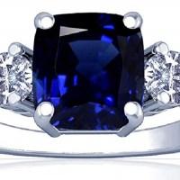 18K White Gold Cushion Cut Blue Sapphire Three Stone Ring