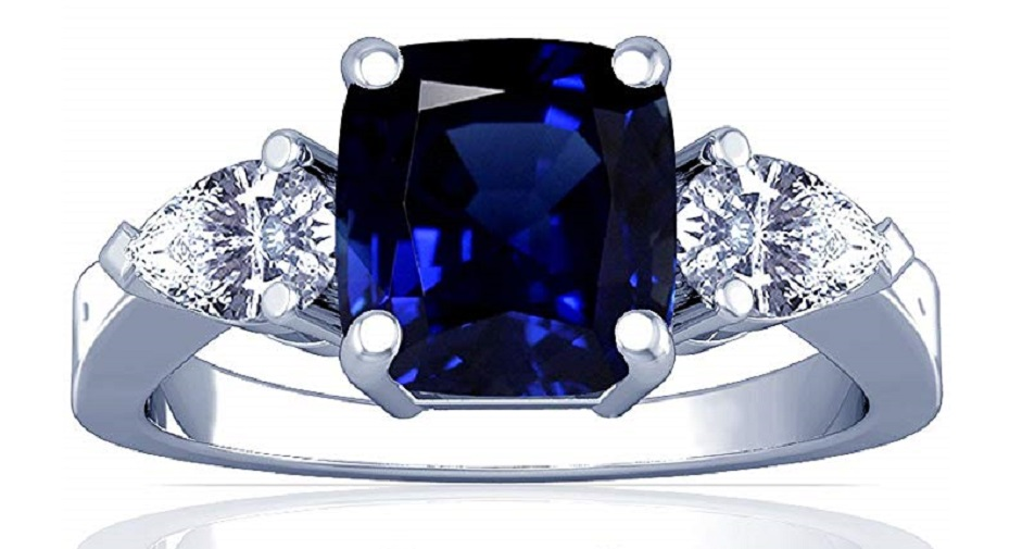 18K White Gold Cushion Cut Blue Sapphire Three Stone Ring (GIA Certificate)