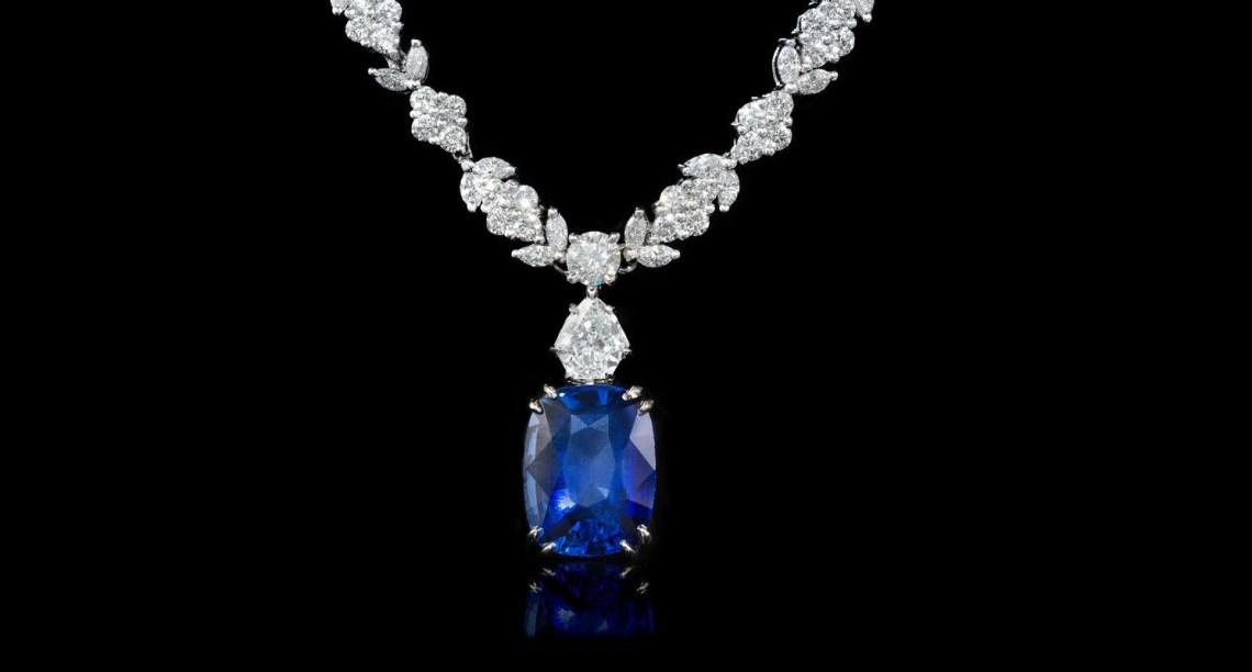 Diamond and Blue Sapphire Platinum Necklace