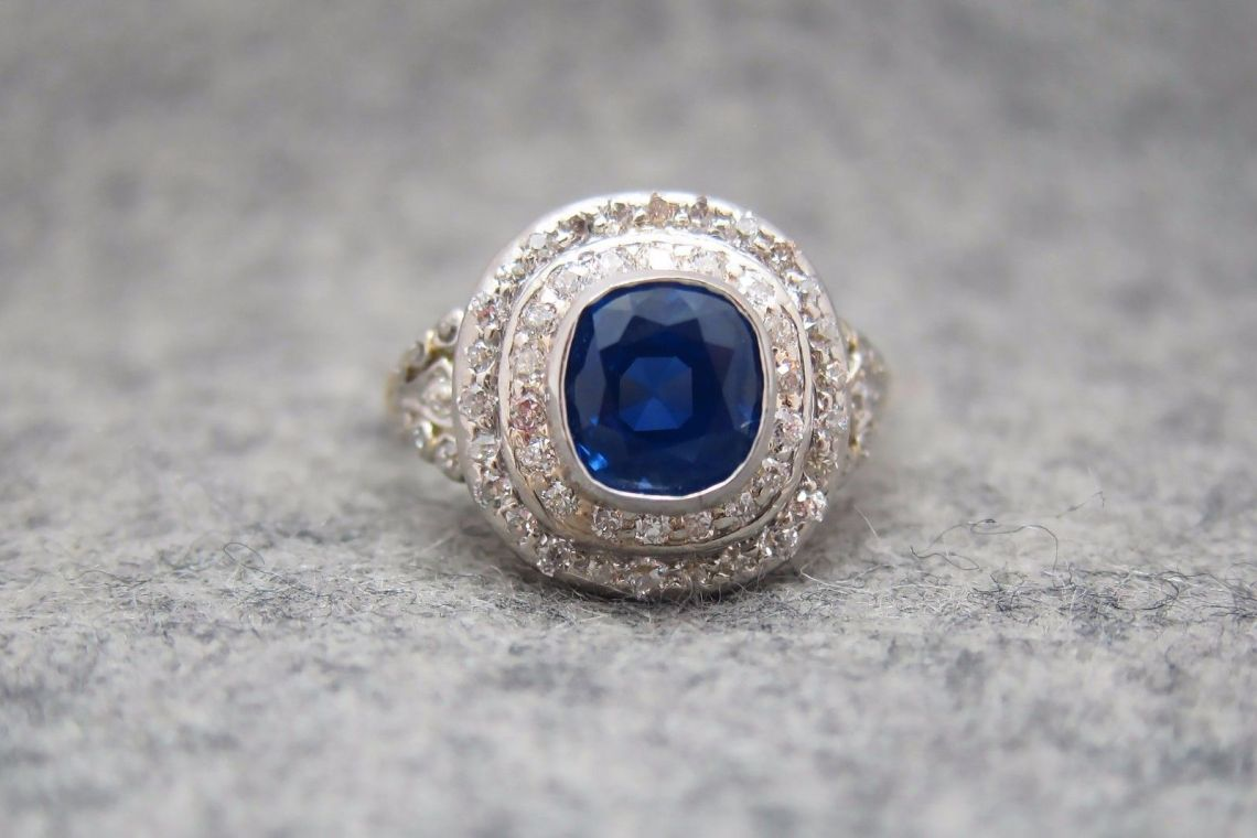 Art Deco Tiffany & Co. Kashmir Sapphire and Diamond Ring