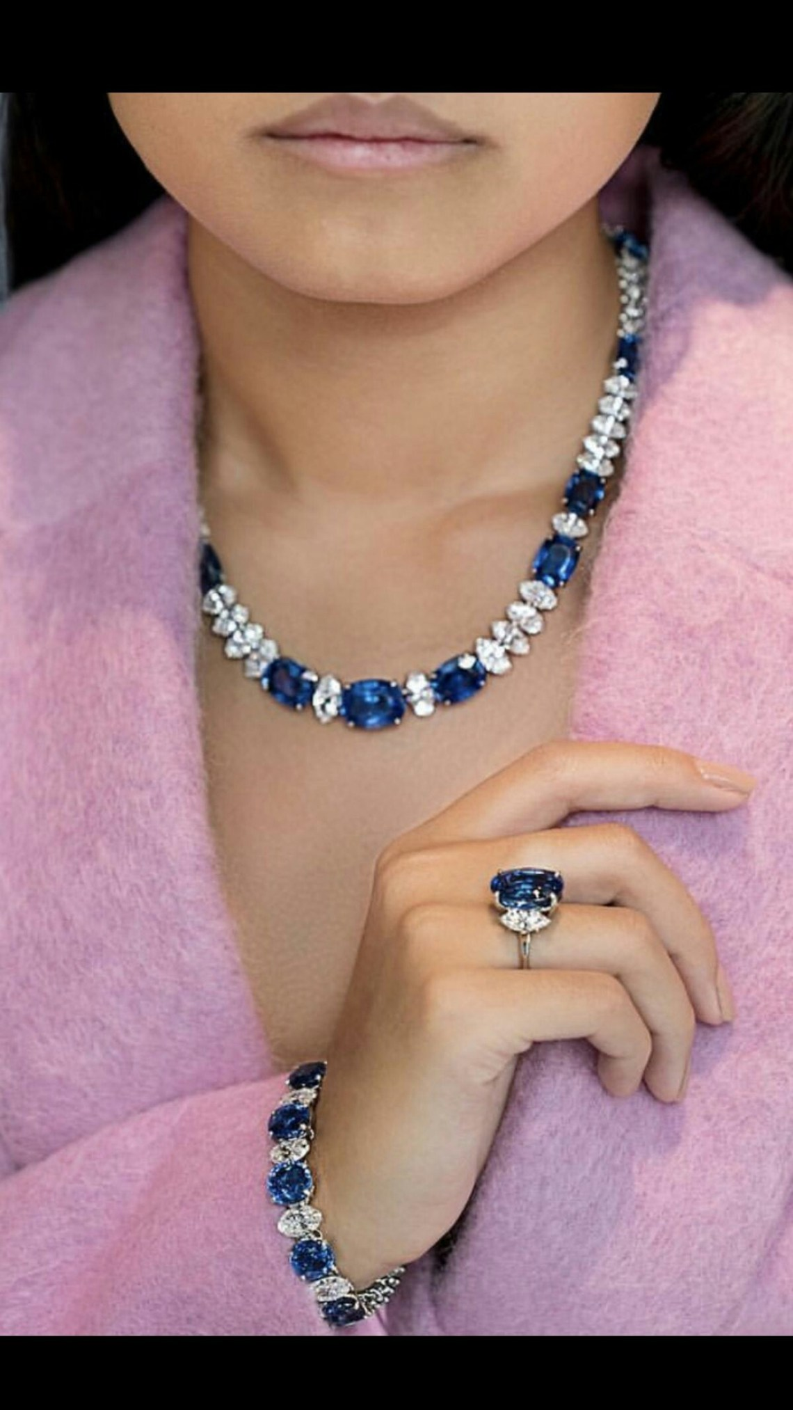 Gorgeous Sapphire and Diamond Necklace and Ring