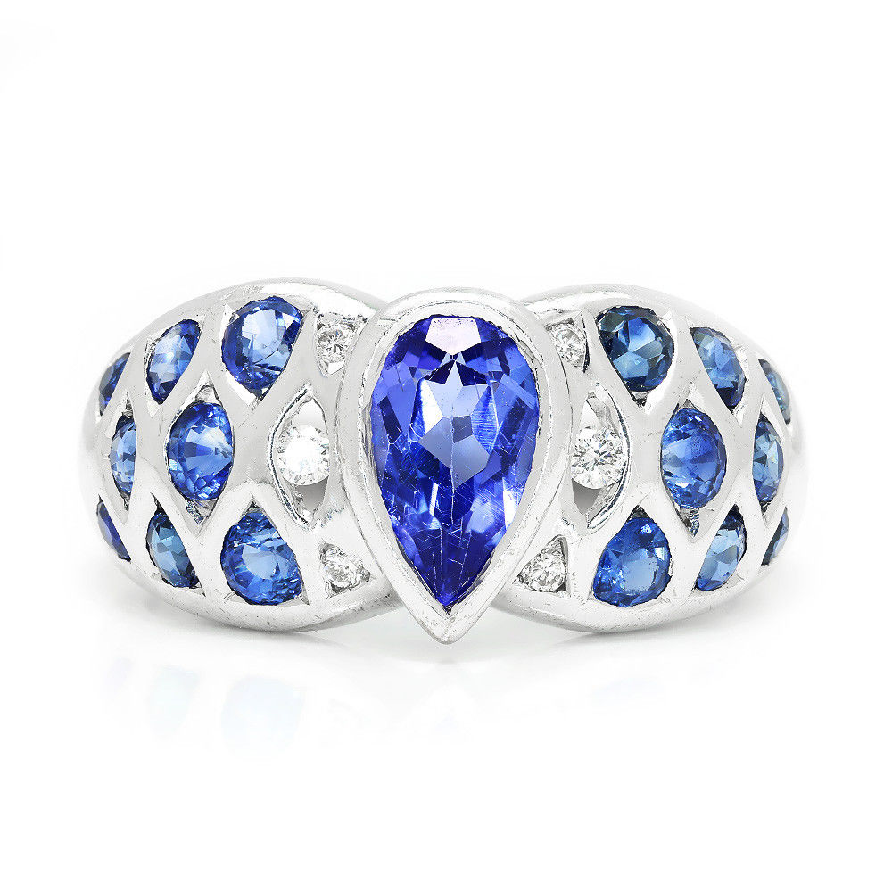 Le Vian Tanzanite Ring with Diamonds & Sapphires in 18Kt White Gold 2.00ctw