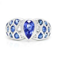 Le Vian Tanzanite Ring with Diamonds & Sapphires 18K White Gold 2.00ctw