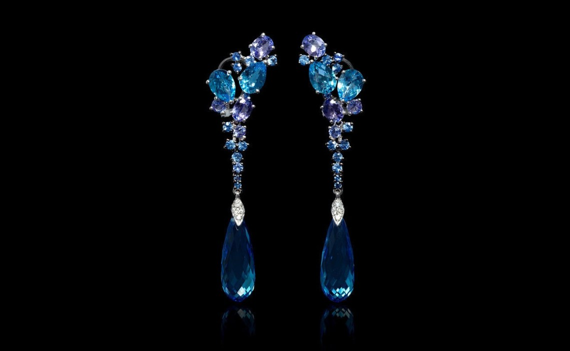 Diamond, Blue Sapphires, Tanzanite and Blue Topaz 18k White Gold Dangle Earrings