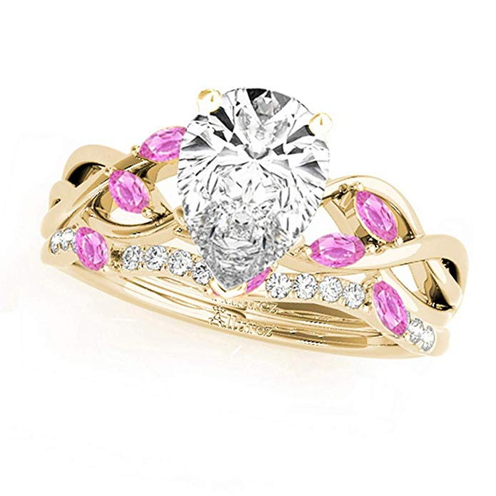 18k Gold Twisted Pear Pink Sapphires and Diamonds Bridal Sets (1.73ct)