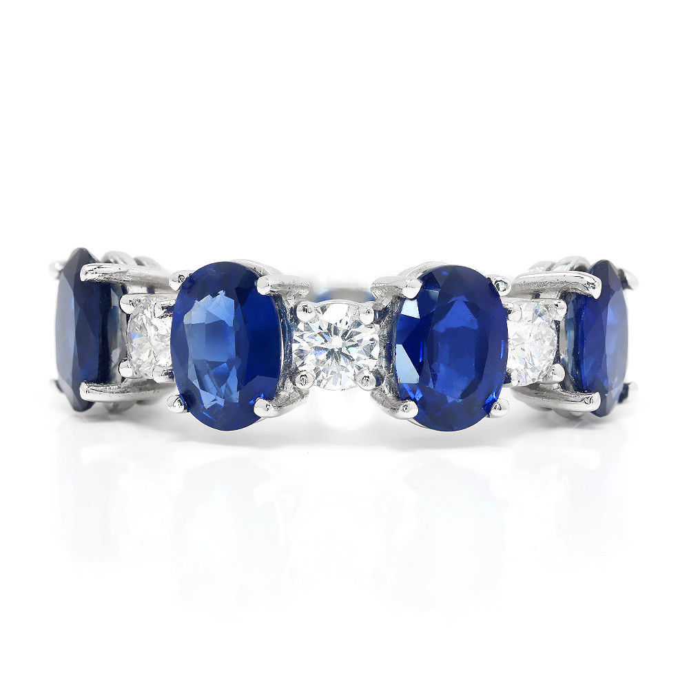 Oval Sapphire and Diamond Band  in 14Kt White Gold 4.00ctw