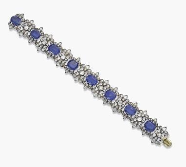 A 19th-century sapphire and diamond bracelet.