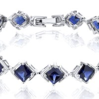 Gorgeous Princess Cut Created Sapphire Bracelet in Sterling Silver 12 Carats Total Weight