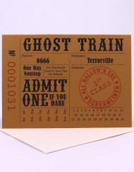Vintage train ticket style Halloween card