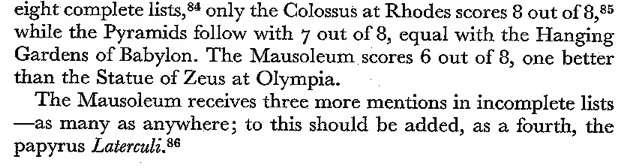 Hornblower 7 wonders stats 1982 234 Mausolus