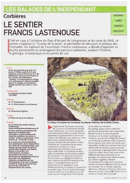 Independant 31 mai 2013 Balade Tournissan Sentier Francis Lastenouse 2