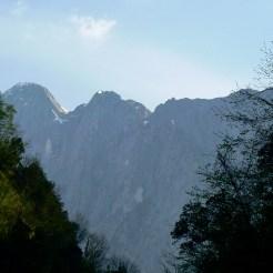 Dietro le colline, le vertiginose pareti delle Apuane