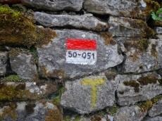 il segnavia accanto al segno del cammino francescano