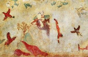 Gli etruschi si saranno certamente tuffati in questo lago come in questo dipinto rinvenuto nella necropoli di Monterozzi (Tarquinia); Wikimedia pubblico dominio