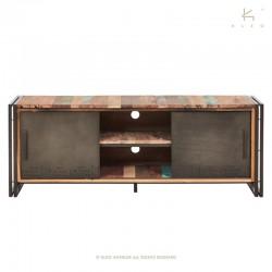 meuble tv portes coulissantes en bois et metal 160 industry
