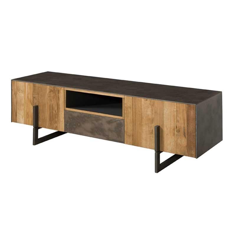 meuble tv en teck et metal 170 nora