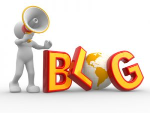 """3d people - human character , person with a megaphone and word """"Blog"""". The concept of communication. 3d render"""