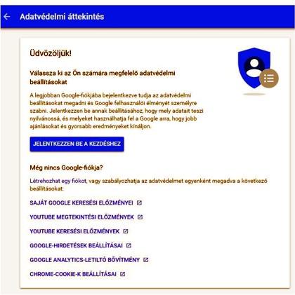 Chrome adatvédelem