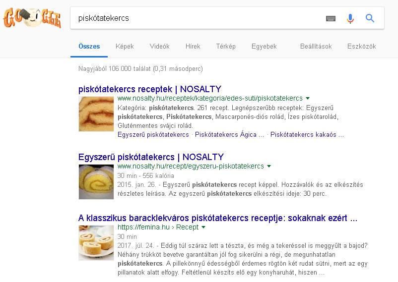Google találati lista