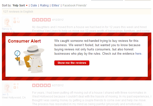 Example of Yelp's new warning about buying reviews