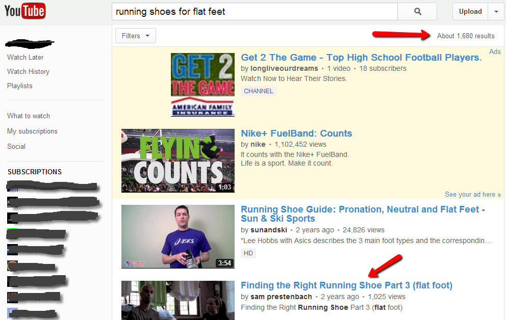Screenshot of YouTube search results