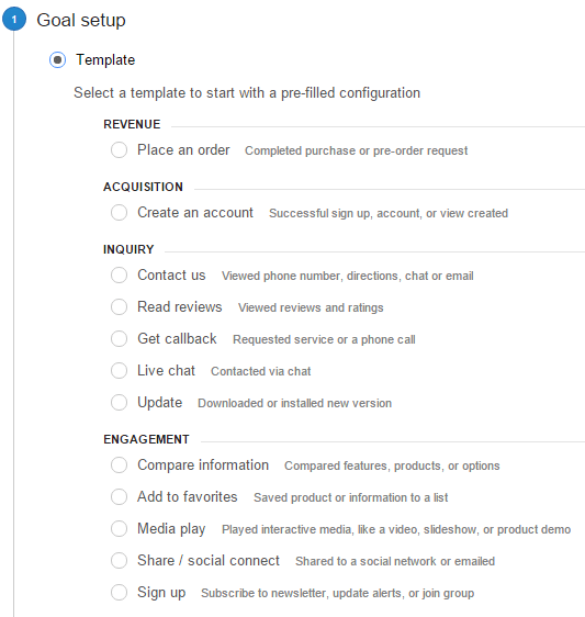 Goal Types Google Analytics
