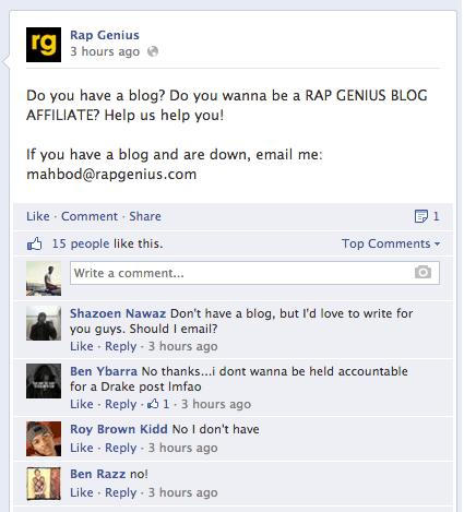 Rap Genius Facebook Post