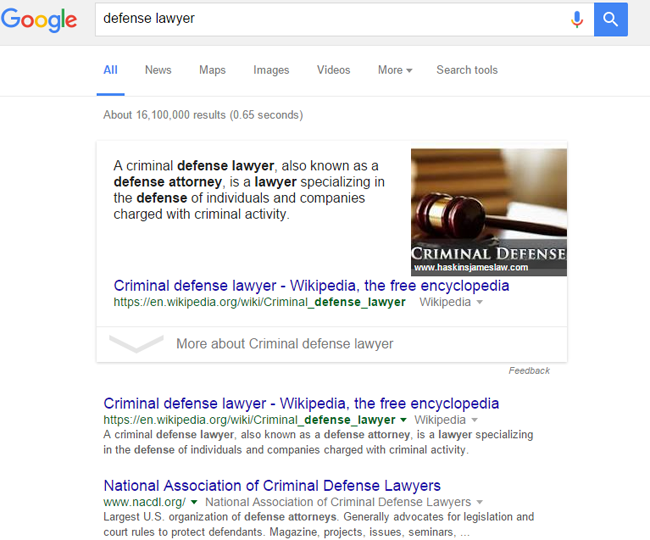 search results defense lawyer