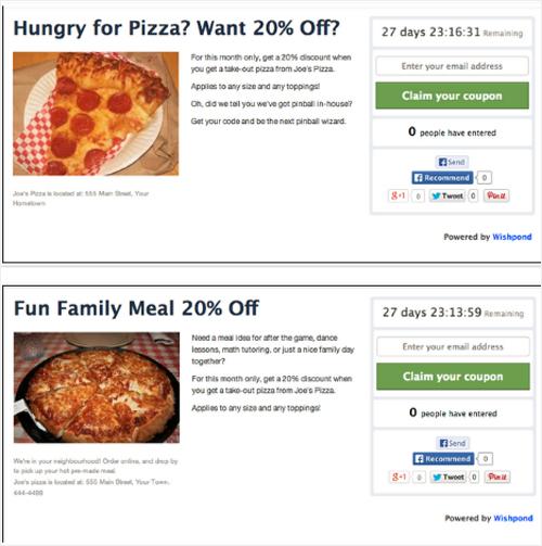 pizza landing pages design