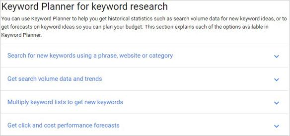 keyword research google keyword planner tool
