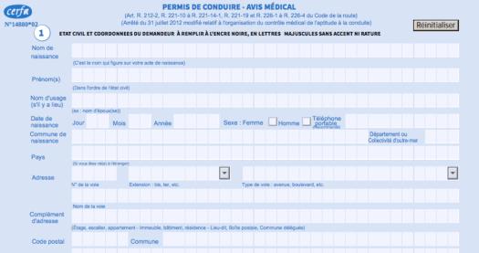 formulaire visite medicale permis de conduire