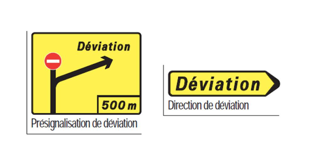 panneau direction temporaire