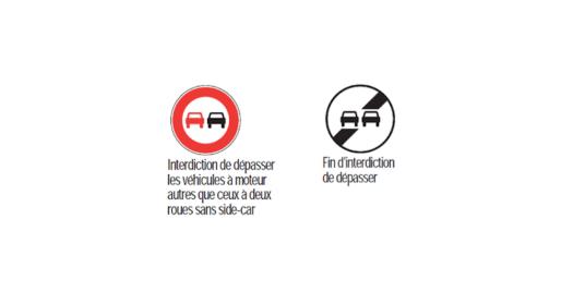 panneaux du code de la route et dépassement interdit