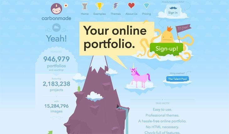 Un ejemplo sutil del uso del color morado en la web de Carbonmade