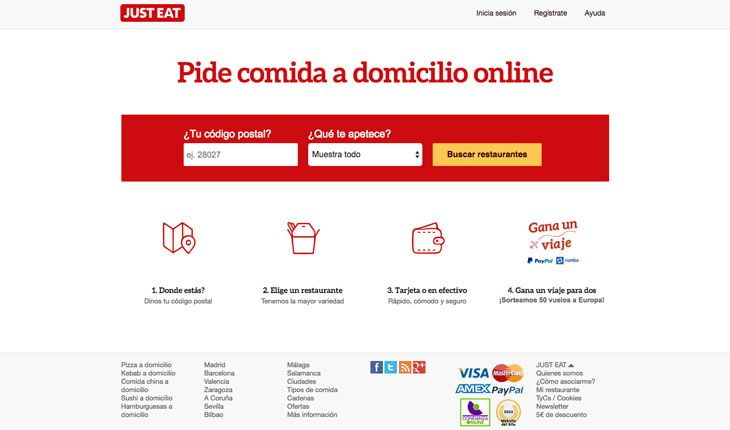 Ejemplo de uso del color rojo en la web Justeat