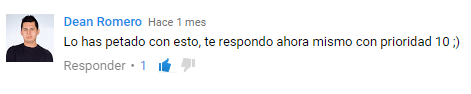 Comentario de Dean Romero en Youtube