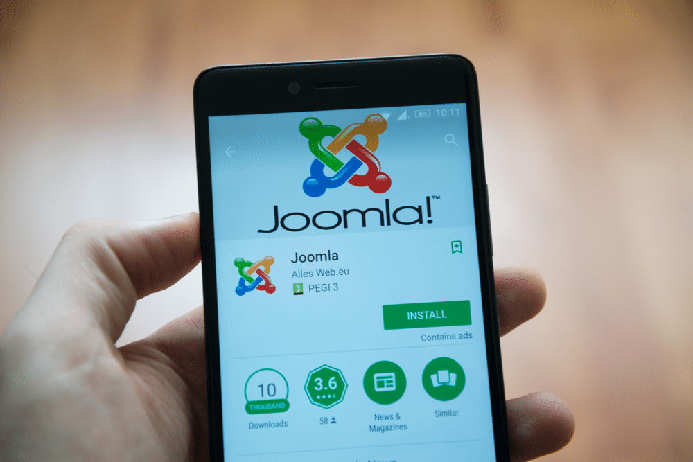 Joomla logo on mobile device.
