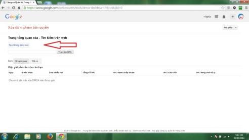 Giao diện DMCA của Google Webmaster Tools