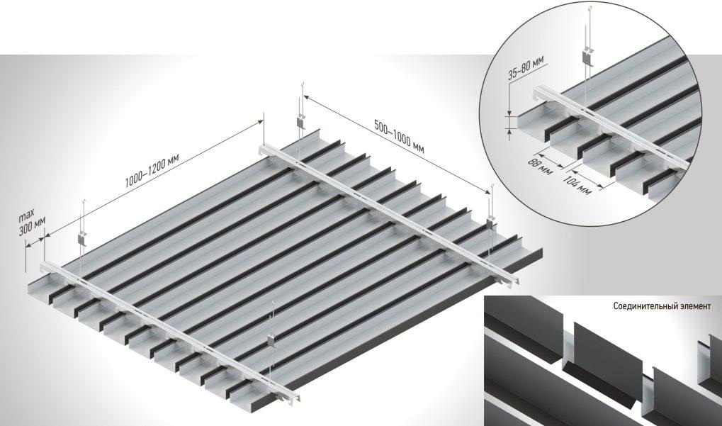 реечный подвесной потолок монтаж