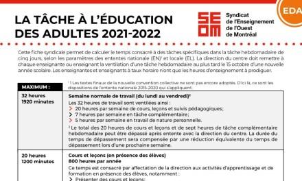 Tâche 2021-2022 | Éducation des adultes