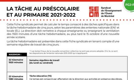 Tâche 2021-2022 | Préscolaire et primaire