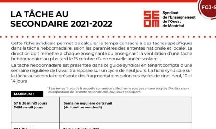 Tâche 2021-2022 | Secondaire
