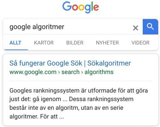 Google Algoritmer och uppdateringar