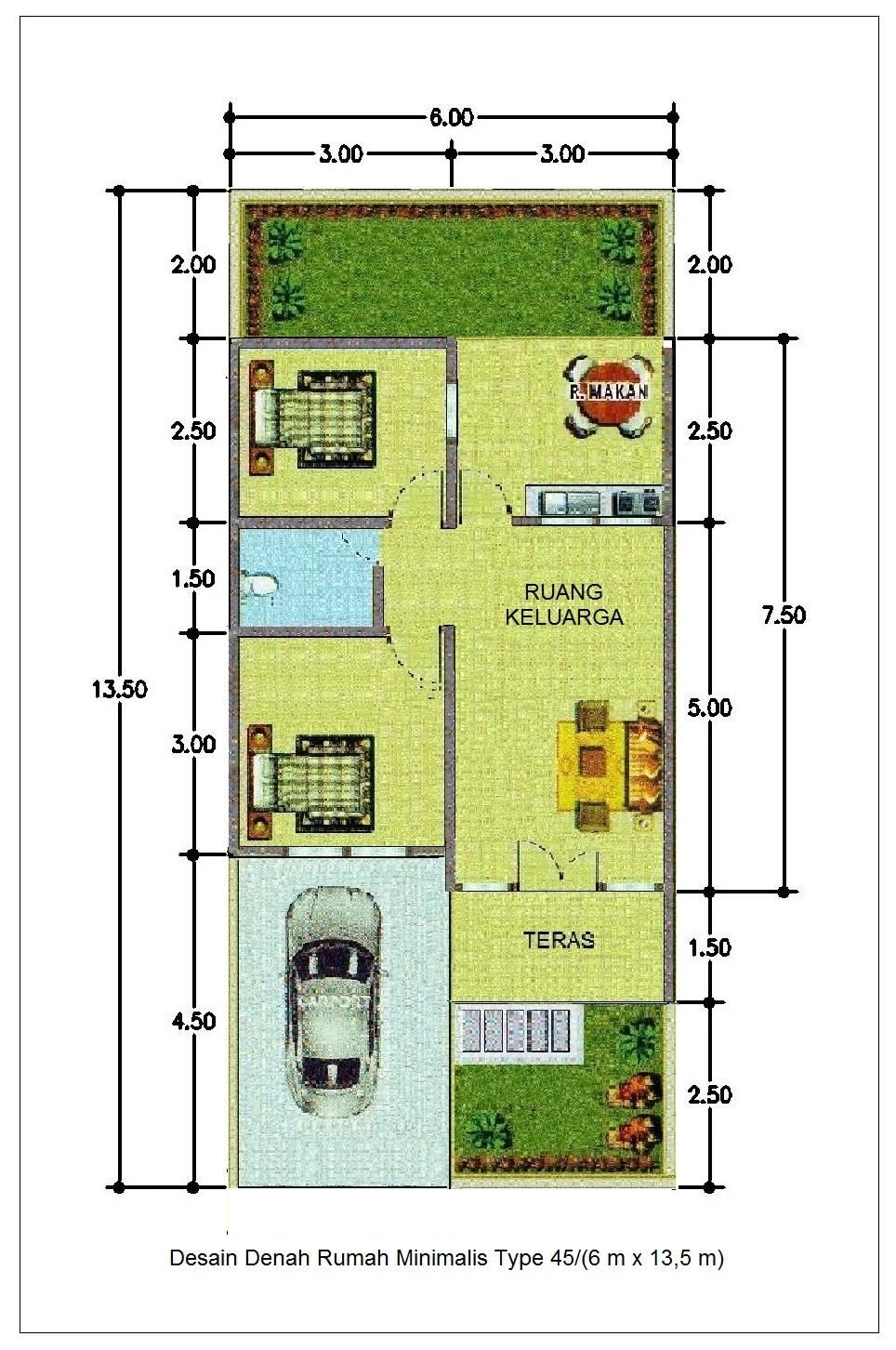 Desain Rumah Lebar 6 Meter Panjang 15 Meter : desain, rumah, lebar, meter, panjang, Contoh, Desain, Rumah, Minimalis, Lebar, Meter, Solution