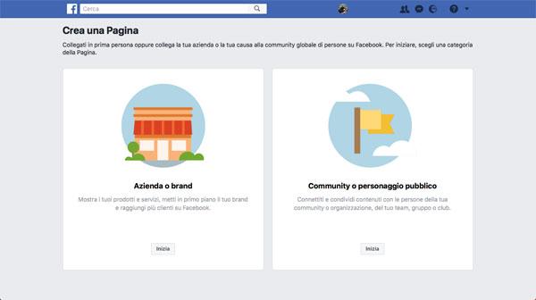 facebook crea una pagina schermata