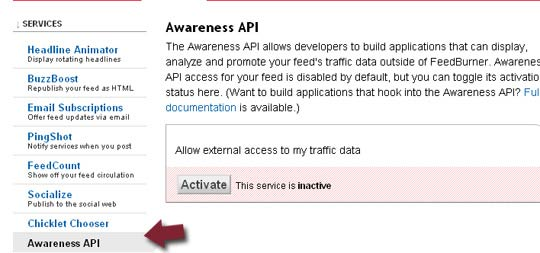 "Включете ""Awareness API"""