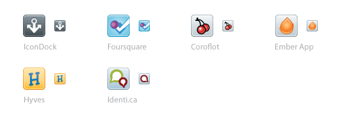IconDock, Foursquare, Coroflot, Ember App, Hyves и Identi.