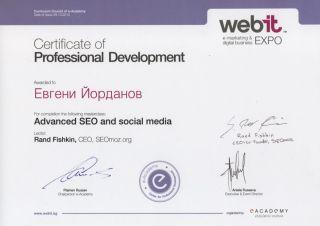 SEO сертификат на инж. Евгени Йорданов по успешно преминат SEO Masterclass на Ранд Фишкин в рамките на Webit 2010