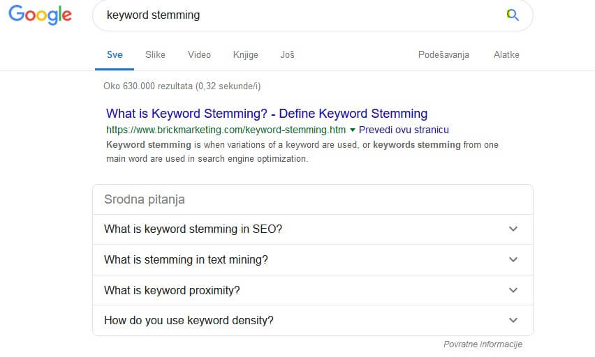 keyword stemming - gugl